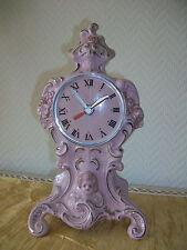 Porzellan Uhr Kamin Uhr rosa / silber Barock Rokoko Bambino Quartzwerk 26cm