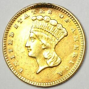1874 Indian Gold Dollar Coin (G$1) - AU Details (Ex-Jewelry) - Rare Coin!