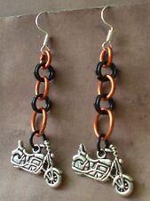 Motorcycle Earrings Orange Black Chainmaille Biker Hog Hard Tail Harley Theme