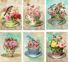 Vintage inspired Tea Cup birds roses card tags set of 6 with envelopes