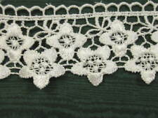 """2 YARDS 2"""" WHITE RAYON FLORAL ORNATE EDGE VENISE LACE"""