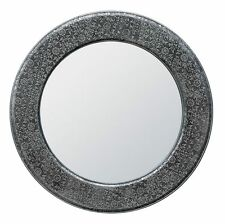Blackened Silver Metal Embossed Round Wall Mirror Shabby Chic Diam. 100cm