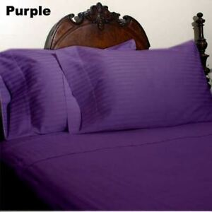 1000 TC Egyptian Cotton Purple Striped Bed Skirt Select Drop Length All US Sizes