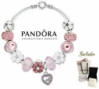 Authentic Pandora Bangle Bracelet Silver 925 Ale with Mothers Day Daisey Charms