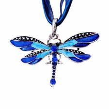 New Dragonfly Crystal Enamel Blue Pendant Women Necklace