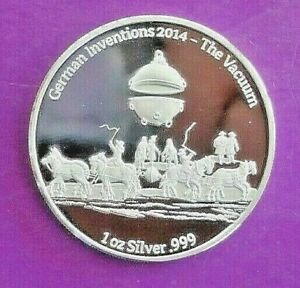 Münze Ghana 5 Cedis Silber 2014 PP Deutsche Erfindungen, das Vakuum