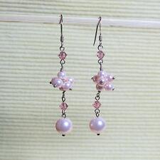 Ohrhänger 925erSterling Silber Silberschmuck Schmuck-Perlen Ensemble  rosa