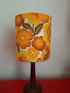70s Lampshade Table lamp Ceiling Retro Vintage 60s 50s  drum flower power yellow