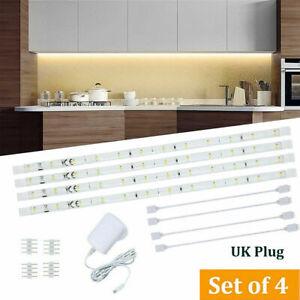 4Pcs LED Strip Lights Under Cabinet Kitchen Cupboard Linkable Mains UK Plug