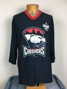 Charlotte Checkers Carolina ECHL 3/4 Sleeve Jersey Shirt Men's Size L