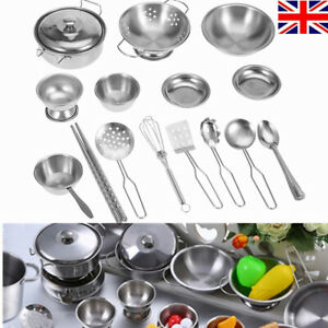 16 Pcs Stainless Kitchen Cooking Utensils Pots Pans Set Play Kids Child Toy Gift