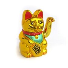 "GOLD MANEKI-NEKO PROSPERITY WAVING CAT - 5"" HIGH"
