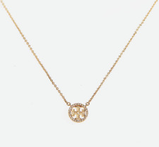Tory Burch Pave Logo Pendant Necklace Tory Gold New with Dust Bag