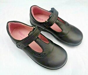STARTRITE PRE-TRINITY BLACK LEATHER T- BAR SCHOOL SHOES UK7 D FITTING.