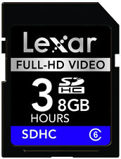 Lexar SD SDHC 8G 8GB Class 6 C6 Full-HD Video Memory Card For Video Camera DV