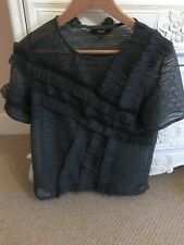 Next Grey Ruffle Organza Ladies Blouse Top Size 12