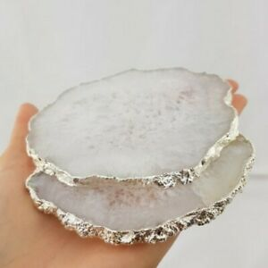White Natural Agate Stone Coaster - Silver Plating
