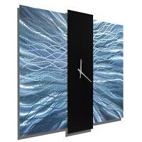 Statements2000 Metal Wall Clock Blue Black Art by Jon Allen Harmonious Mechanism