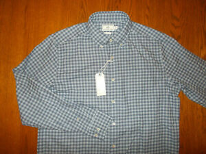 NWT SOUTHERN TIDE LONG SLEEVE BLUE CHECK BUTTON SHIRT MENS LARGE RETAILS 99.50