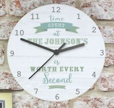 Personalised Time Spent Shabby Chic Large Wooden Clock - New Home Wedding Gift