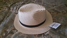 White Fedora Hat Unisex Casual Fedora Cap Hat White with Black Ribbon Fedora S/M