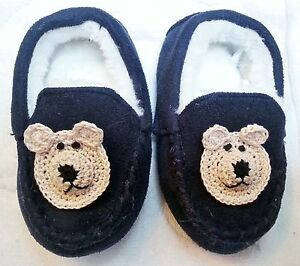 NEW BLUE FAUX SUEDE WHITE FUR SLIPPERS w/ BEAR DOG SIZE 3 4 YOUTH BOYS