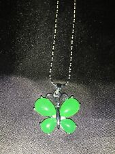 Exquisite Tibet Silver Inlaid Green Jade Butterfly Shape Necklace & Pendant