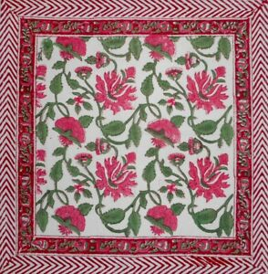 """Pretty in Pink Block Print  Cotton Table Napkin 20"""" x 20"""" Pink"""