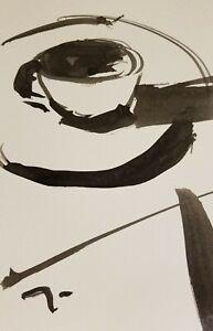 "JOSE TRUJILLO - ORIGINAL ABSTRACT Coffee Cup COA - INK WASH on Paper 6X9"" - NEW"