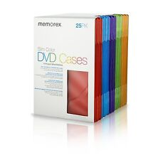 25 New Memorex Slim Color DVD Cases Red Blue Purple Green Orange [FREE SHIPPING]