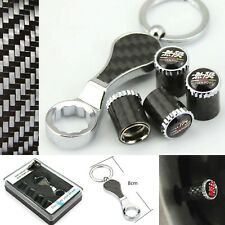 4× Carbon Car Emblem Wheel Tire Air Valve Cap + Wrench Keychain For MUGEN
