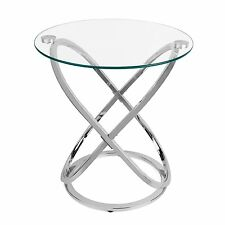 Danya B™ Galaxy Chrome and Tempered Glass Round End Table HA01516