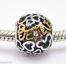 BELIEVE CHARM Bead Sterling Silver .925 for European Bracelet 833