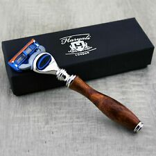 5 EDGE RAZOR GENTS BEARD CLEAN SHAVE WOODEN HANDLE PERFECT FOR SMOOTH FINISHING