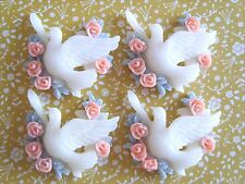 4 x Pretty Dove with Flowers Flatback Resin Embellishment Crafts Cabochon *UK*