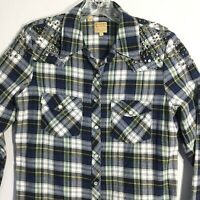 GUESS  Blue Plaid Flannel Snap Button Shirt Studded Rhinestones Women's Small