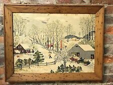 Vintage Early Springtime on the Farm Grandma Moses Fabric in Wormy Wood Frame