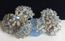 Vintage Miriam Haskell Brooch PIn~Blue Glass/Crystal/Bead/RS/Silvertone Filigree
