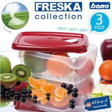 Contenitori Per Alimenti 3 PEZZI Box Cibo 0,5-1-2 LT FRESKA Bama Vari Colori