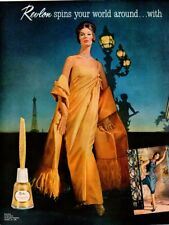 Vintage Beauty Fashion ad Revlon 1961 Spins your World Around Nini Ricci gown 2p