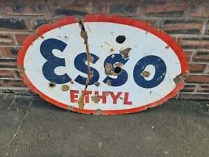Vintage Double Sided Esso Ethyl Oval Enamel Sign