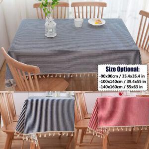 New Cotton Linen Stripe Tablecloth W/Tassel Rectangle Tea Table Cloth Dust Cover