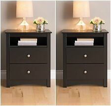 2 Piece Black 2-Drawer Nightstand Bedroom Furniture Collection Set Home Storage