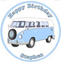 "VW Camper Van 7.5"" Round Personalised Edible Icing Cake Topper"