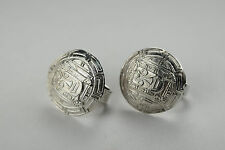 925 Sterling Silver Peru A.R Aztec Mayan Mask Maze Engraved Circular Earrings