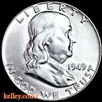 1949 50C Franklin Silver Half Dollar BU
