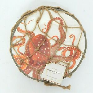 """Pottery Barn """"Sea Critter"""" Melamine Plates Puffer Fish Crab Octopus Turtle New"""
