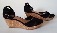 Womens New Look Shoes wedges sandal black size 4 strap ankle cork peep open toe