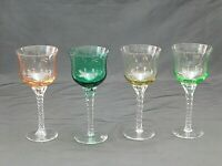 (4 )Vintage Multi Colored Clear Twisted Stem Cordial Liquor Wine Glasses A-10