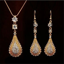 18k gold plated Rhinestones Crystal chain pendant necklace+Earrings Jewelry set